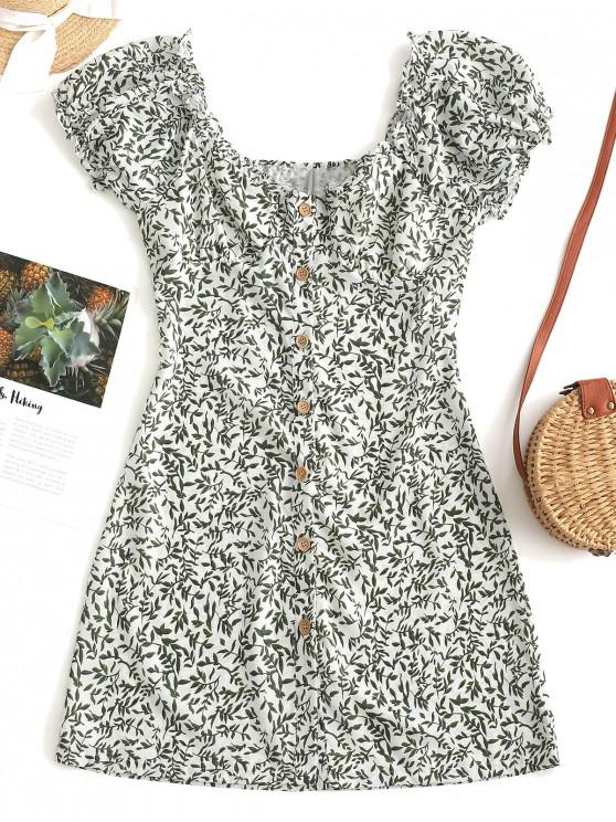 chic Leaves Print Button Up Mini Dress - GREEN L