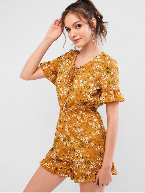 hot ZAFUL Ditsy Floral Lace-up Flounce Cuffs Romper - GOLDENROD L