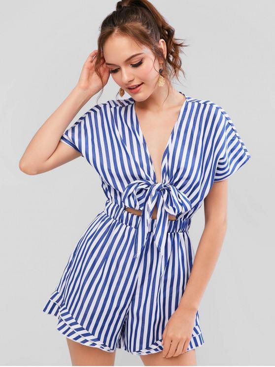 buy ZAFUL Ruffled Striped Plunge Knotted Romper - SKY BLUE L