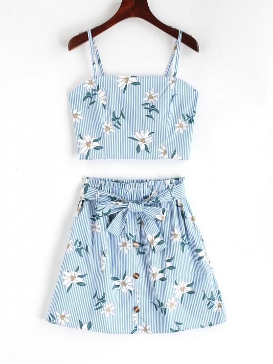 online Smocked Stripes Floral Top And Buttoned Skirt Set - LIGHT BLUE S