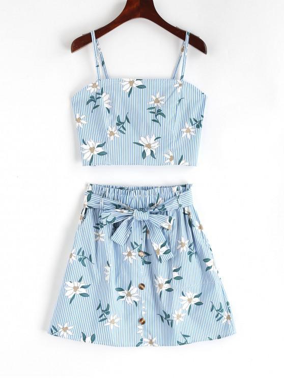 shop Smocked Stripes Floral Top And Buttoned Skirt Set - LIGHT BLUE L