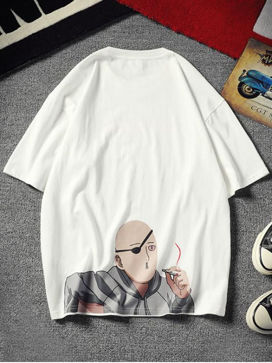 unique Cartoon Character Letter Print Short Sleeves T-shirt - WHITE XS