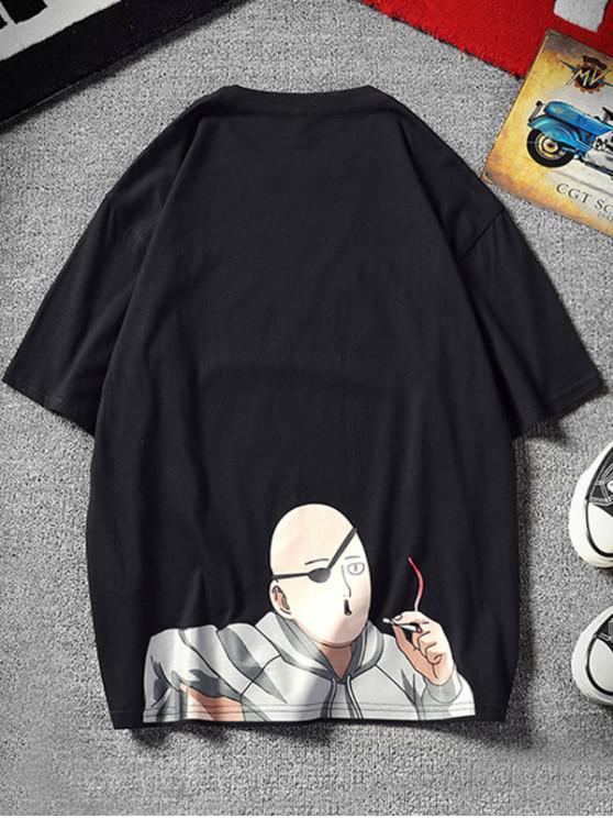 lady Cartoon Character Letter Print Short Sleeves T-shirt - BLACK L