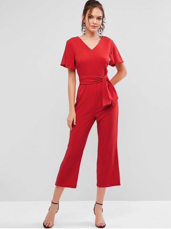 womens V Neck Solid Color Belted Jumpsuit - RED S