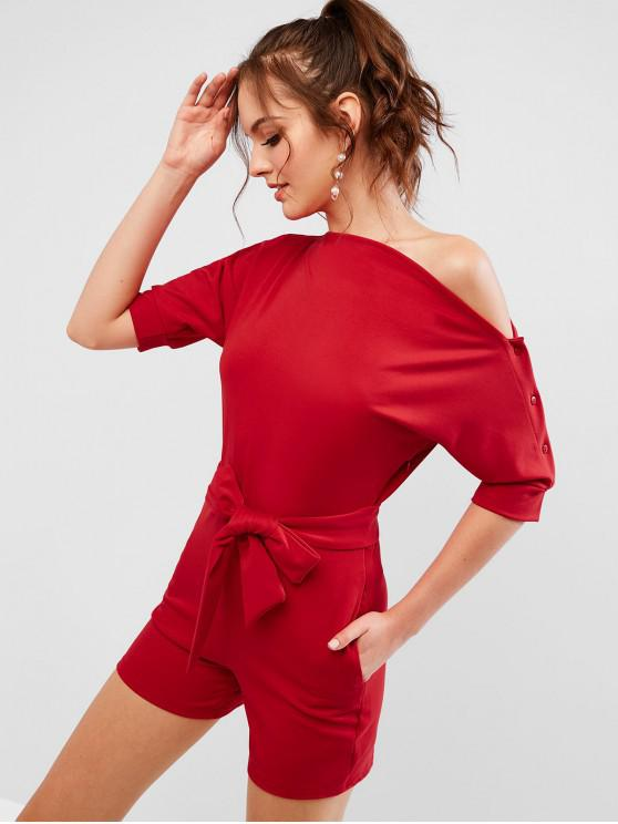 hot Skew Neck Solid Color Belted Romper - RED 2XL