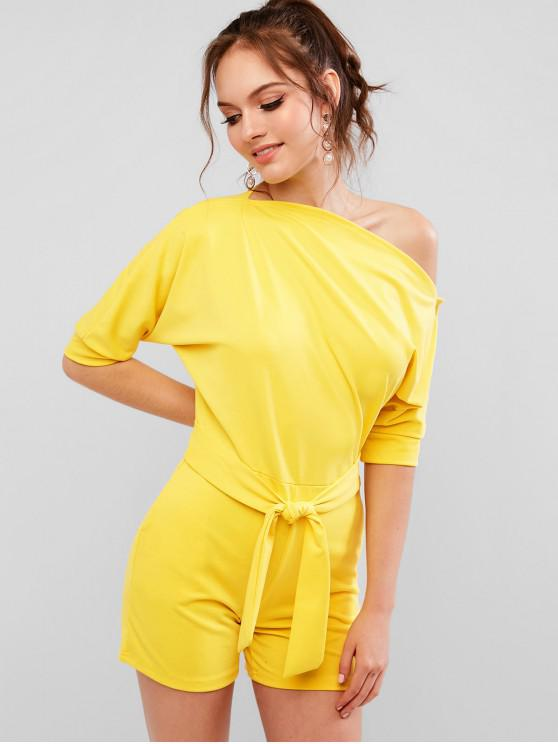 latest Skew Neck Solid Color Belted Romper - CORN YELLOW XL