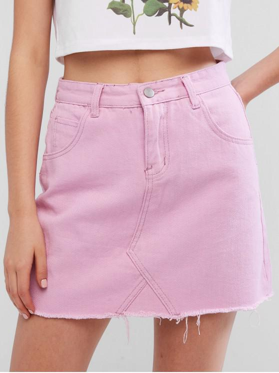 unique Pocket Frayed Hem Mini Denim Skirt - MAUVE S