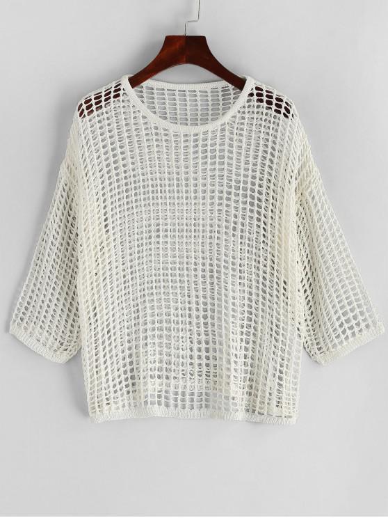Fishnet -Schulterfrei- Vertuschung - Weiß Eine Größe