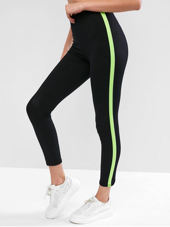 lady Side Contrast Sports Skinny Pants - BLACK M