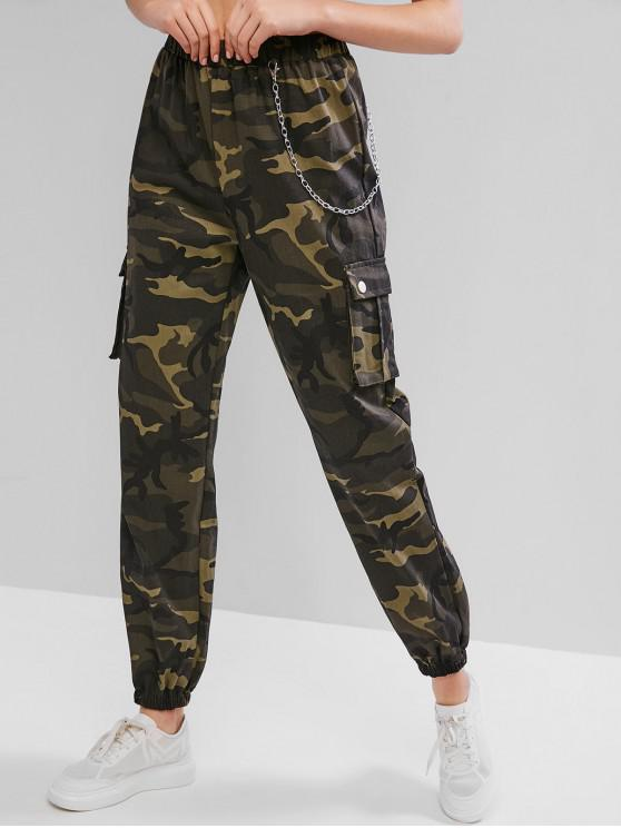 outfit Chain Flap Pockets Camouflage Jogger Pants - ACU CAMOUFLAGE XL
