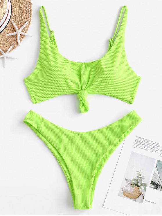 new ZAFUL Ribbed Knotted Tank Bikini Swimsuit - GREEN YELLOW L