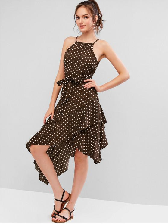 new Ruffles Polka Dot Asymmetric Belted Cami Dress - COFFEE S