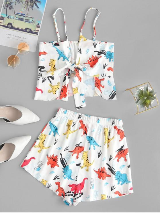 latest Tie Front Dinosaur Cami Top And Shorts Set - WHITE M