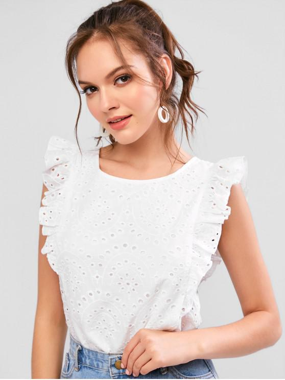 chic ZAFUL Broderie Anglaise Ruffled Eyelet Casual Blouse - WHITE M