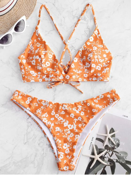hot ZAFUL Reversible Tiny Floral Lace Up Bikini Swimsuit - MULTI-A S