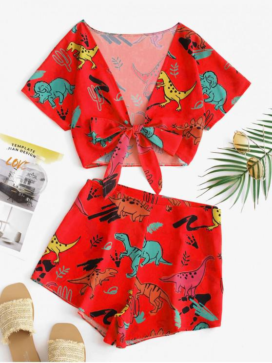 outfit Tie Front Dinosaur Cropped Top And Shorts - CHESTNUT RED S