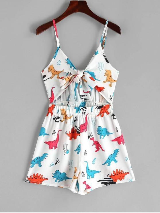 buy Dinosaur Print Tie Front Cami Romper - WHITE L