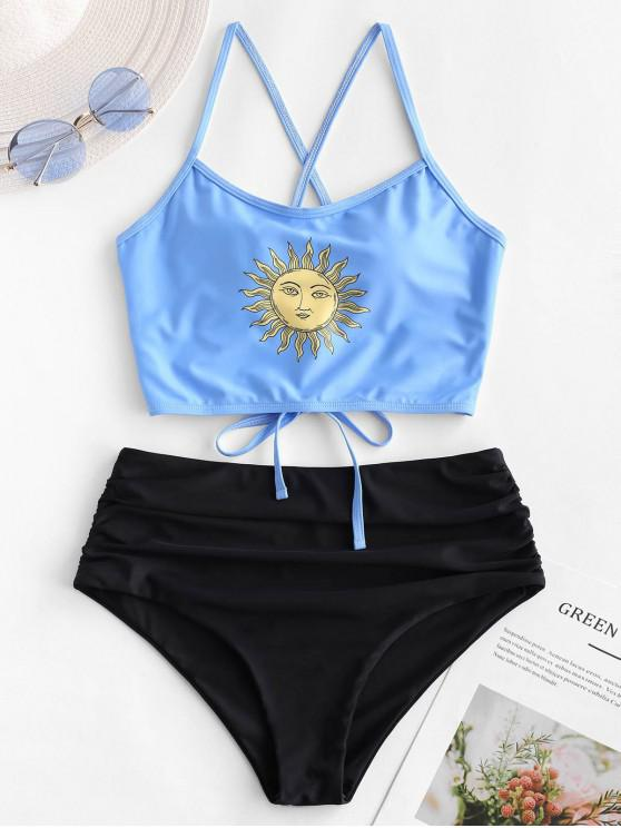 sale ZAFUL Sun Print Lace Up Tummy Control Tankini Swimsuit - MULTI-A L