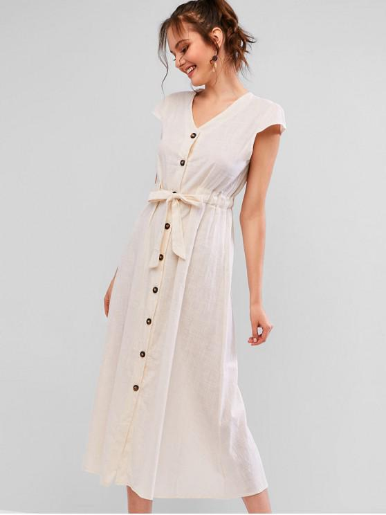 affordable V Neck Button Up Knotted Maxi Dress - BLANCHED ALMOND S