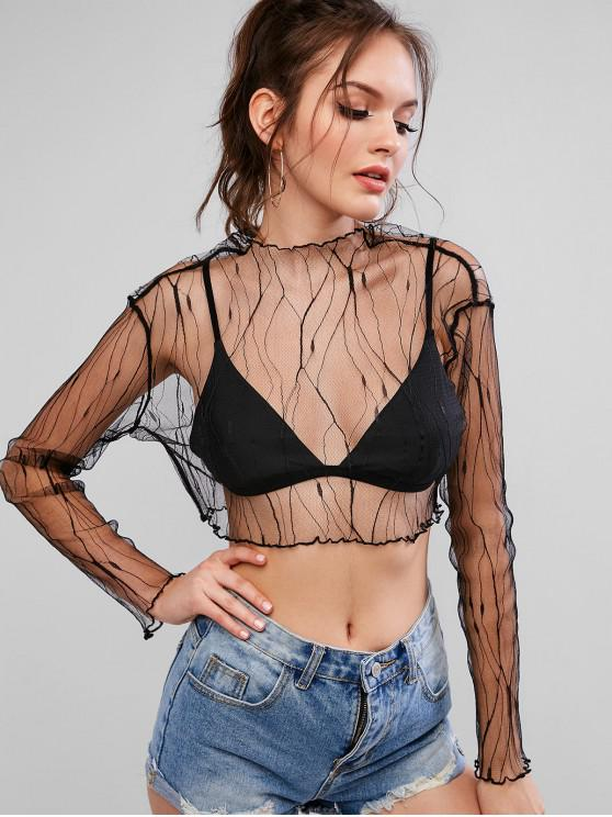 outfits Long Sleeve Mesh See Thru Cropped Top - BLACK S