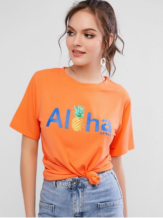 T-shirt a maniche corte con grafica a lettere corte - Arancione Mango M