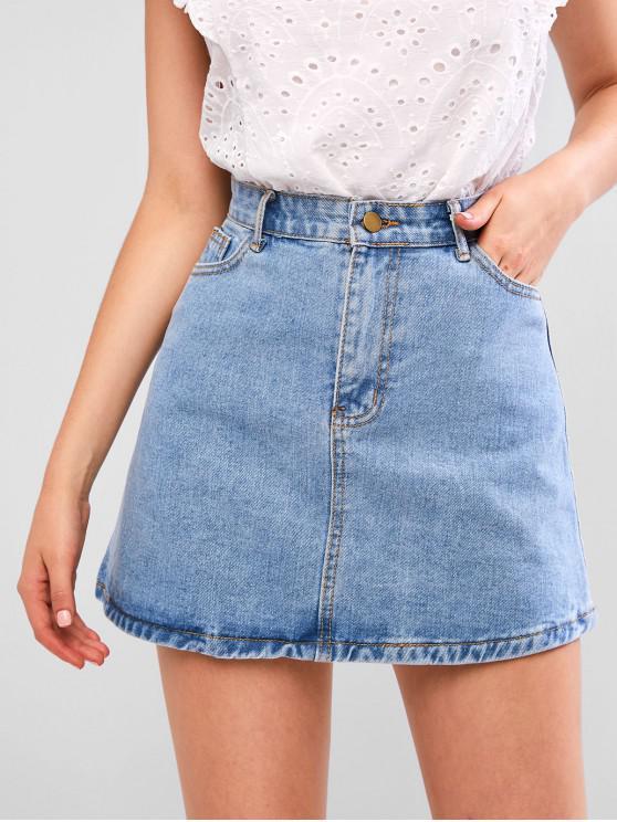 lady A Line Zip Fly Short Denim Skirt - DENIM BLUE L
