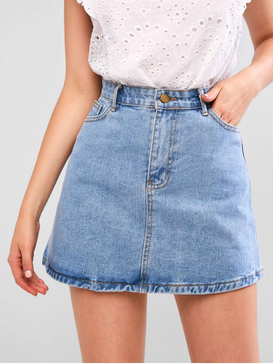 trendy A Line Zip Fly Short Denim Skirt - DENIM BLUE M