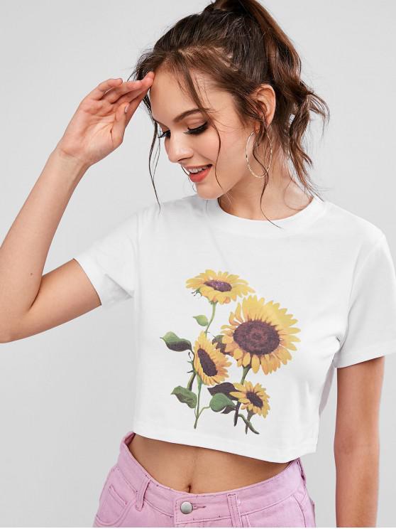 latest ZAFUL Round Neck Sunflower Print Crop Tee - WHITE S