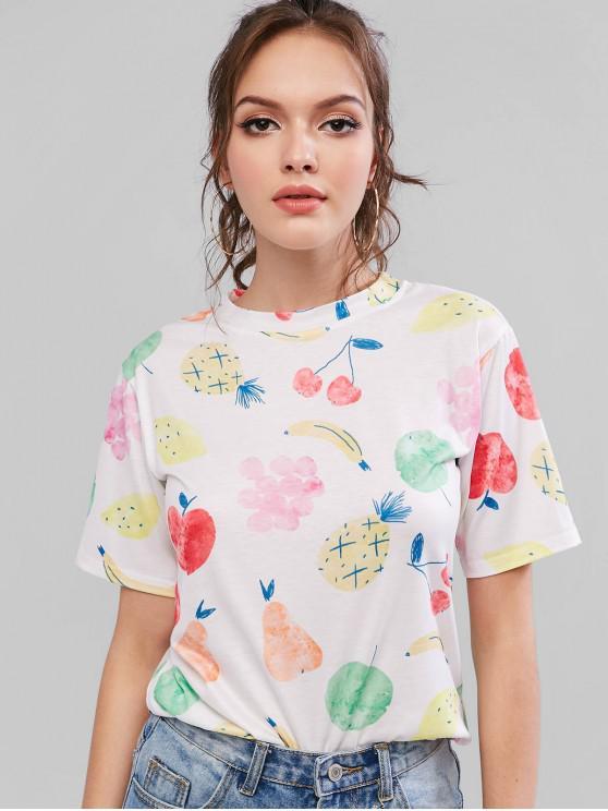 T-shirt casual a maniche corte con stampa di frutta - Bianca S