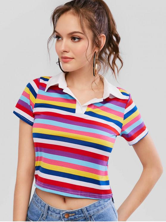womens Colorful Striped Short Sleeve Boxy Tee - MULTI-A S