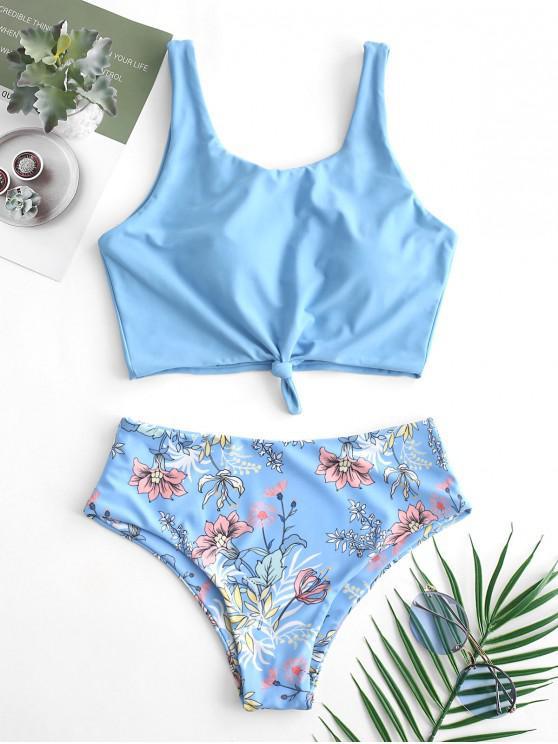 lady ZAFUL Plant Print Knot Mix and Match Tankini Swimsuit - LIGHT SKY BLUE S