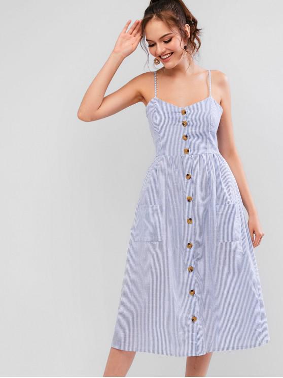 ladies Button Up Pockets Striped Cami Dress - DENIM BLUE L