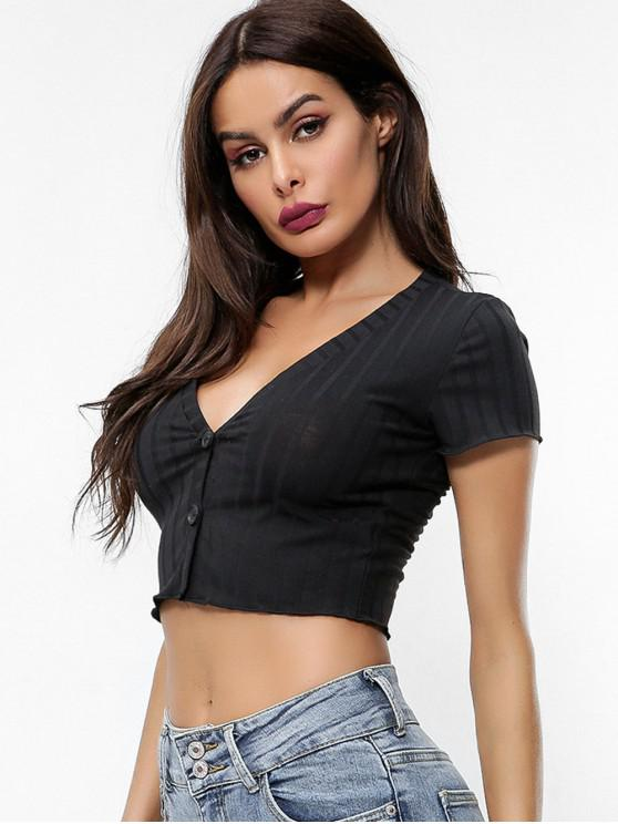 unique V Neck Buttoned Crop Solid Tee - BLACK M