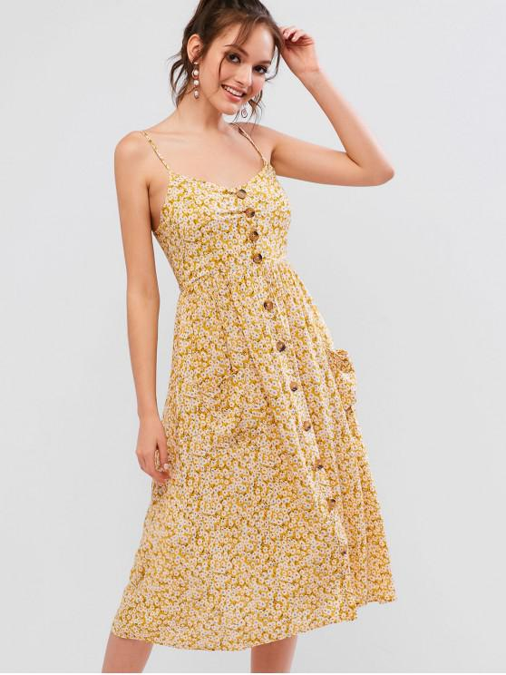 outfits Smocked Back Buttoned Tiny Floral Cami Dress - GOLDENROD S