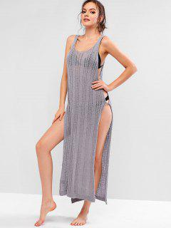 Ring Side Slit Crochet Dress - Light Slate Gray M