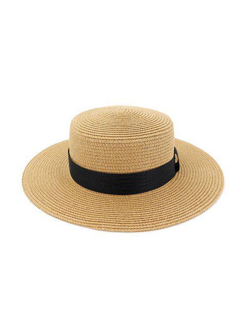 Correa de paja redonda de playa decorada sombrero para el sol - Caqui  Mobile