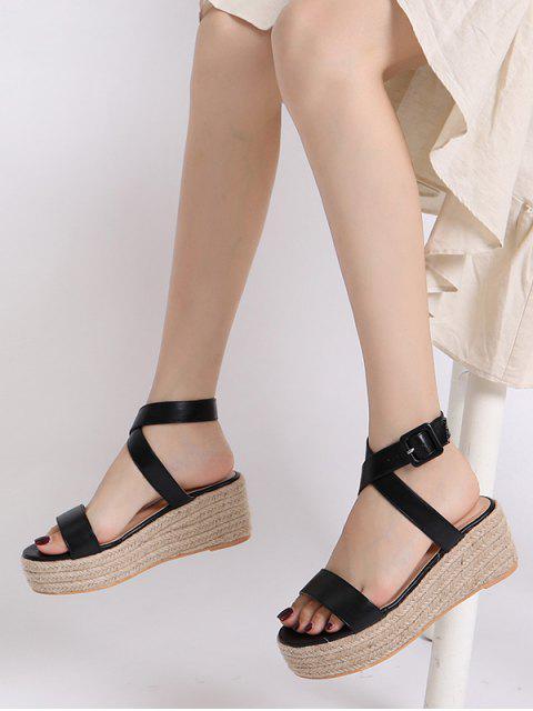 best Cross Strap Flatform Espadrille Sandals - BLACK EU 40 Mobile