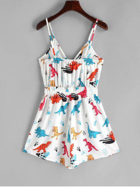 buy Dinosaur Print Tie Front Cami Romper - WHITE L Mobile