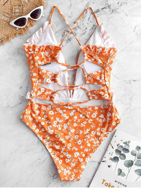 fancy ZAFUL Tiny Floral Criss Cross Ruffle Swimsuit - MULTI-A XL Mobile
