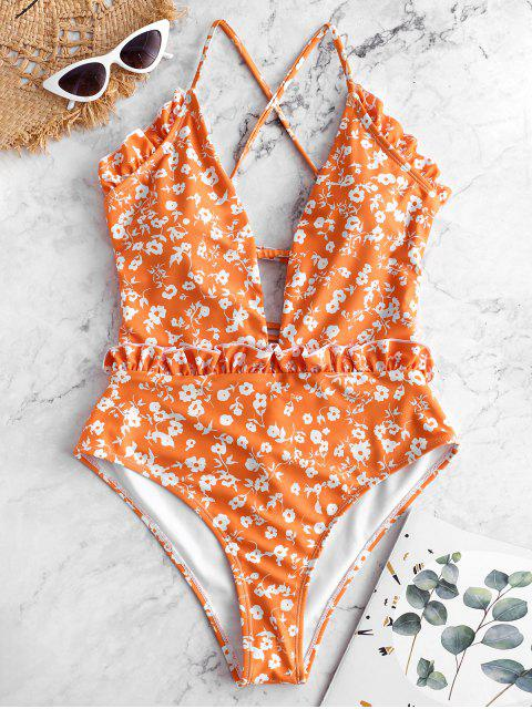 affordable ZAFUL Tiny Floral Criss Cross Ruffle Swimsuit - MULTI-A L Mobile