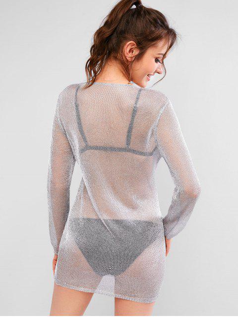 Robe Couverture Métallique à Paillettes à Lacets - Argent L Mobile