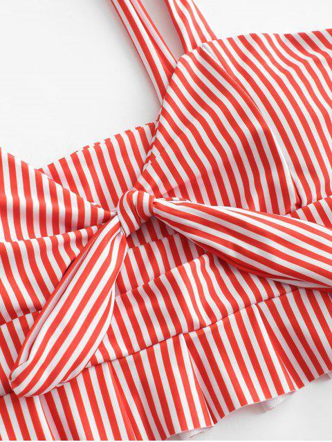 ZAFUL Knot Ruffle Tankini Set - Rojo de Rubí M Mobile