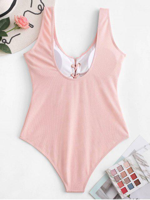 affordable ZAFUL Ribbed Lace Up High Waisted Swimsuit - LIGHT PINK S Mobile
