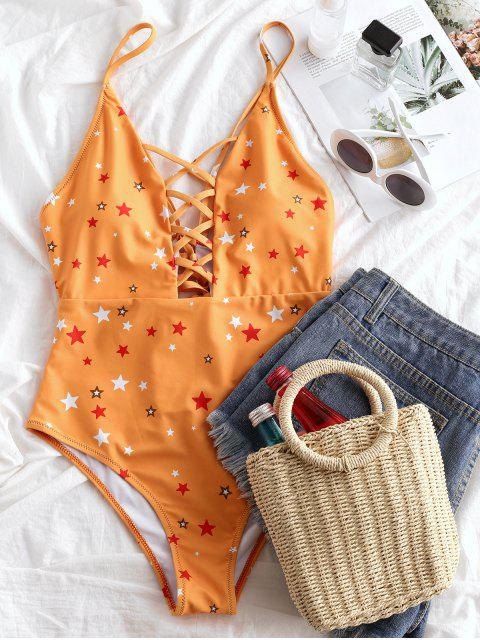 unique ZAFUL Star Print Lace-up Lattice One-piece Swimsuit - BEE YELLOW L Mobile