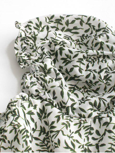 Mini-Robe Boutonnée Feuille Imprimée - Vert S Mobile