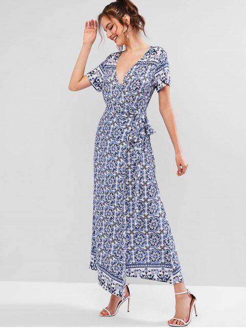fancy ZAFUL Porcelain Print Bohemian Maxi Wrap Dress - NAVY BLUE L Mobile