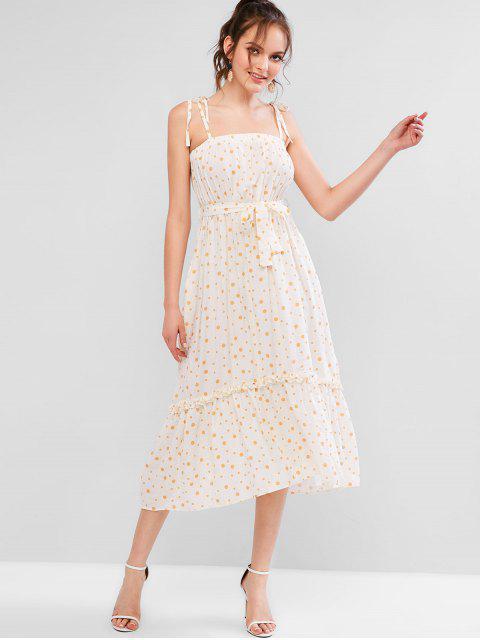 sale ZAFUL Polka Dot Tie Shoulder Cami Frilled Dress - CREAM L Mobile
