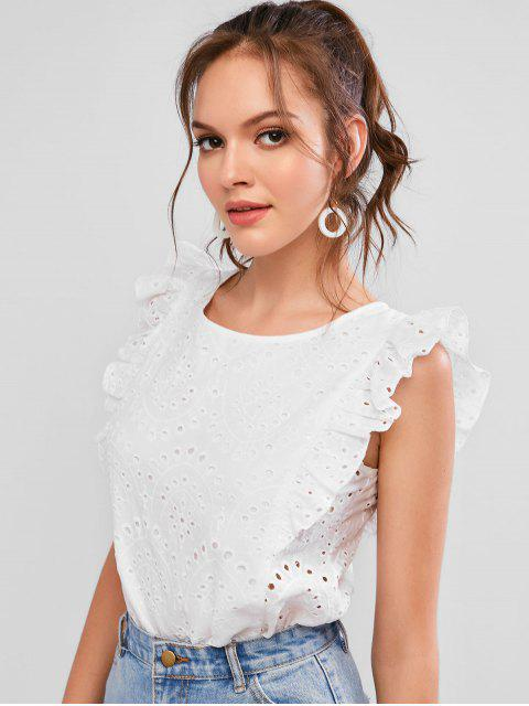 trendy ZAFUL Broderie Anglaise Ruffled Eyelet Casual Blouse - WHITE L Mobile