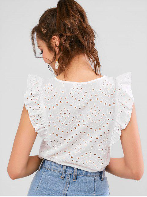 chic ZAFUL Broderie Anglaise Ruffled Eyelet Casual Blouse - WHITE M Mobile