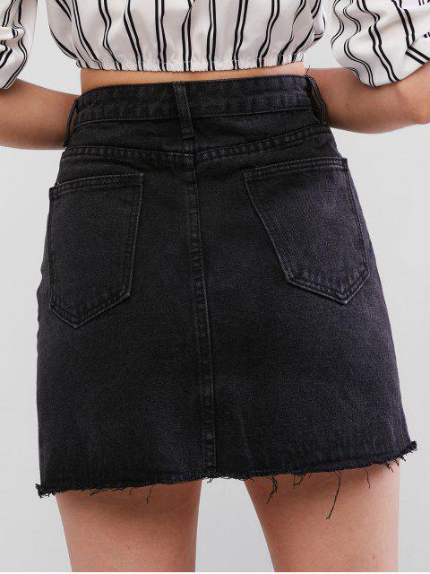 outfit Raw Hem Fitted Mini Denim Skirt - BLACK S Mobile